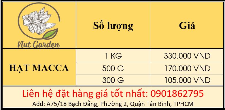 bảng giá hạt macca nutgarden